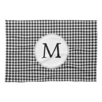 Personalized Monogram Houndstooth Pattern in Black Towels