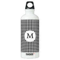 Personalized Monogram Houndstooth Pattern in Black Water Bottle