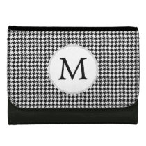 Personalized Monogram Houndstooth Pattern in Black Women's Wallets