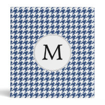 Personalized Monogram Houndstooth pattern in blue 3 Ring Binder