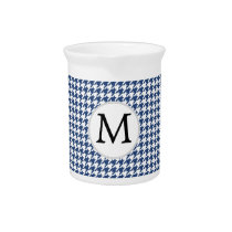 Personalized Monogram Houndstooth pattern in blue Beverage Pitcher