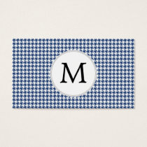 Personalized Monogram Houndstooth pattern in blue Business Card