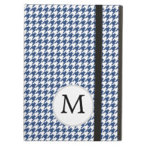 Personalized Monogram Houndstooth pattern in blue Case For iPad Air