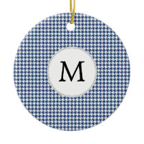 Personalized Monogram Houndstooth pattern in blue Ceramic Ornament