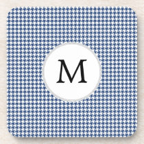 Personalized Monogram Houndstooth pattern in blue Drink Coaster