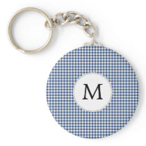 Personalized Monogram Houndstooth pattern in blue Keychain