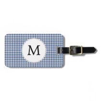 Personalized Monogram Houndstooth pattern in blue Luggage Tag