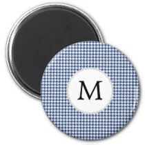 Personalized Monogram Houndstooth pattern in blue Magnet