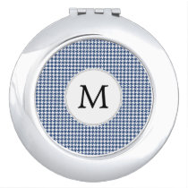 Personalized Monogram Houndstooth pattern in blue Mirror For Makeup