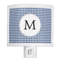 Personalized Monogram Houndstooth pattern in blue Night Light