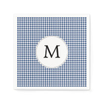 Personalized Monogram Houndstooth pattern in blue Paper Napkin