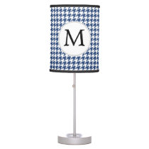 Personalized Monogram Houndstooth pattern in blue Table Lamp
