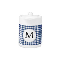 Personalized Monogram Houndstooth pattern in blue Teapot