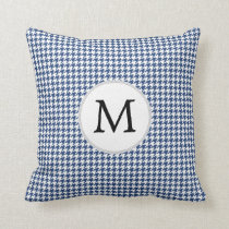 Personalized Monogram Houndstooth pattern in blue Throw Pillow