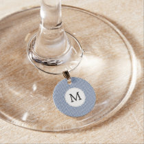 Personalized Monogram Houndstooth pattern in blue Wine Glass Charm