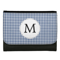 Personalized Monogram Houndstooth pattern in blue Women's Wallet