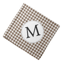 Personalized Monogram Houndstooth Pattern in Brown Bandana
