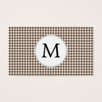 Personalized Monogram Houndstooth Pattern in Brown Business Card