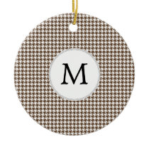Personalized Monogram Houndstooth Pattern in Brown Ceramic Ornament
