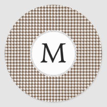 Personalized Monogram Houndstooth Pattern in Brown Classic Round Sticker
