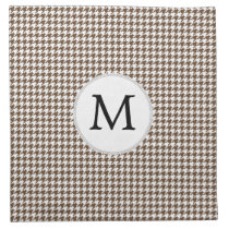 Personalized Monogram Houndstooth Pattern in Brown Cloth Napkin