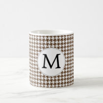 Personalized Monogram Houndstooth Pattern in Brown Coffee Mug