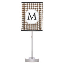 Personalized Monogram Houndstooth Pattern in Brown Desk Lamp