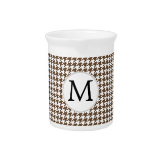 Personalized Monogram Houndstooth Pattern in Brown Drink Pitchers