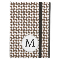 Personalized Monogram Houndstooth Pattern in Brown iPad Air Cover