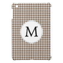 Personalized Monogram Houndstooth Pattern in Brown iPad Mini Case