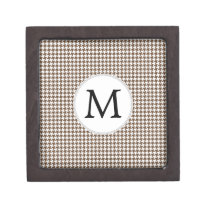 Personalized Monogram Houndstooth Pattern in Brown Keepsake Box