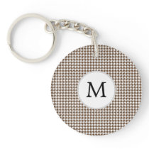 Personalized Monogram Houndstooth Pattern in Brown Keychain