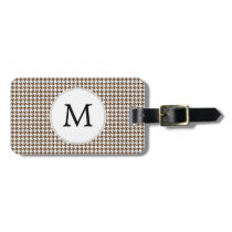 Personalized Monogram Houndstooth Pattern in Brown Luggage Tag