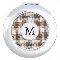 Personalized Monogram Houndstooth Pattern in Brown Mirror For Makeup