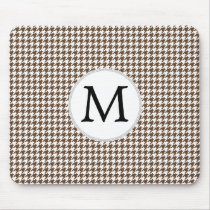 Personalized Monogram Houndstooth Pattern in Brown Mouse Pad