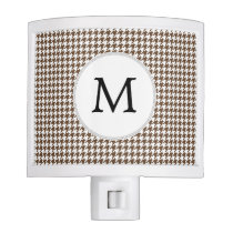 Personalized Monogram Houndstooth Pattern in Brown Night Light