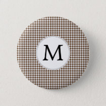 Personalized Monogram Houndstooth Pattern in Brown Pinback Button