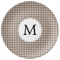Personalized Monogram Houndstooth Pattern in Brown Plate