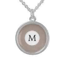 Personalized Monogram Houndstooth Pattern in Brown Sterling Silver Necklace