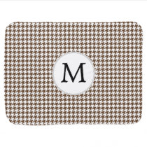 Personalized Monogram Houndstooth Pattern in Brown Stroller Blanket