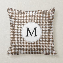 Personalized Monogram Houndstooth Pattern in Brown Throw Pillow