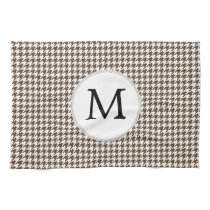 Personalized Monogram Houndstooth Pattern in Brown Towel