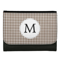 Personalized Monogram Houndstooth Pattern in Brown Wallets For Women