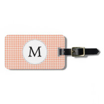 Personalized Monogram Houndstooth Pattern in Coral Bag Tag