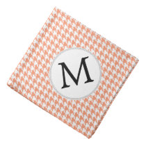 Personalized Monogram Houndstooth Pattern in Coral Bandana