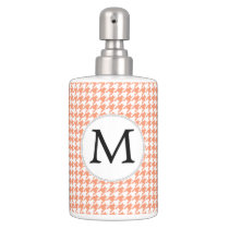 Personalized Monogram Houndstooth Pattern in Coral Bathroom Set