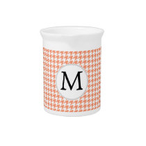 Personalized Monogram Houndstooth Pattern in Coral Beverage Pitcher