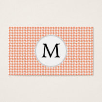 Personalized Monogram Houndstooth Pattern in Coral Business Card