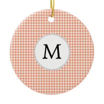 Personalized Monogram Houndstooth Pattern in Coral Ceramic Ornament