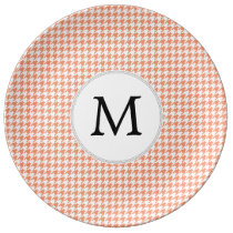 Personalized Monogram Houndstooth Pattern in Coral Dinner Plate